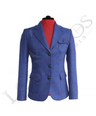 Chaqueta de lana de mujer | Azul Klein Cuadros