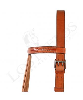 Cabezal vaquero fundones hebilla acero doble pincho (piña cuero)