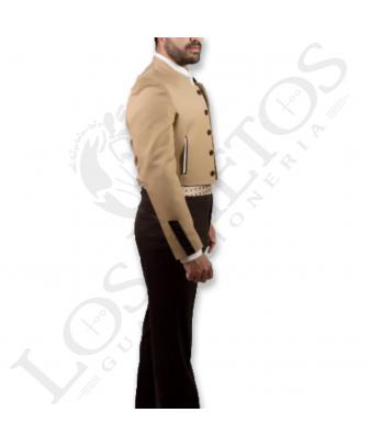 Traje de corto caballero | Sarga Camel Contrastes