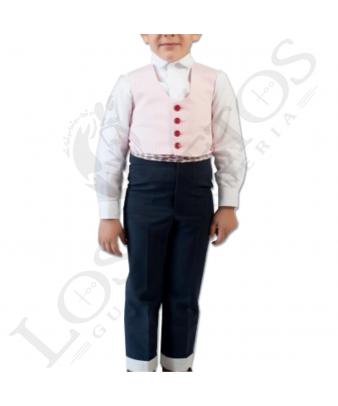 Traje de corto niño | 500 rayas rosa